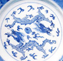 Dragons on Jingdezhen porcelain